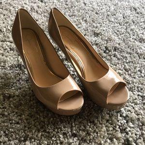 Jessica Simpson Nude Patent Leather Pumps Heels